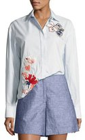 GREY by Jason Wu Striped Cotton Button-Down Shirt w/ Floral Embroidery, Baby Blue Multi