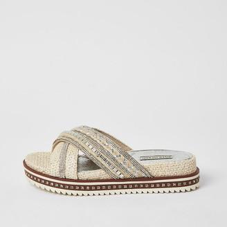 River Island White embellish cross strap flatform sandals