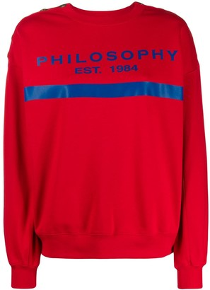 Philosophy di Lorenzo Serafini Logo Print Button Detail Sweatshirt