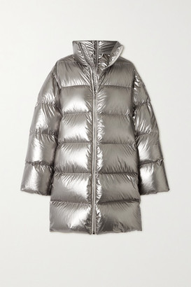 Moncler + Rick Owens Moncler Rick Owens - Cyclopic Canvas-trimmed Metallic Quilted Shell Down Coat - Silver