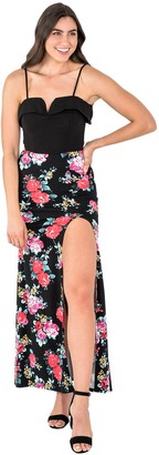 Juniors' B. Smart Cold Shoulder Top & Long Skirt with Side Slit Set
