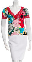 Blumarine Lace-Accented Floral Print T-Shirt