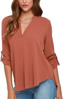 Inshine Women Casual Plus Size V-Neck Work Business Tops Shirts Blouses 2X-Large