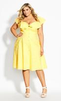 City Chic Delightful Dress - lemon
