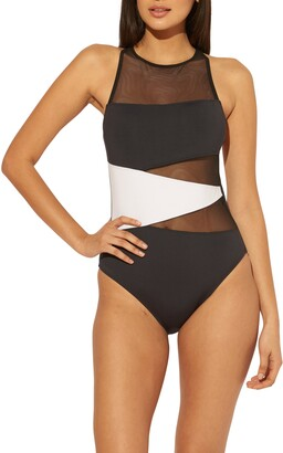 BLEU by Rod Beattie Don't Mesh With Me Cross Back One-Piece Swimsuit