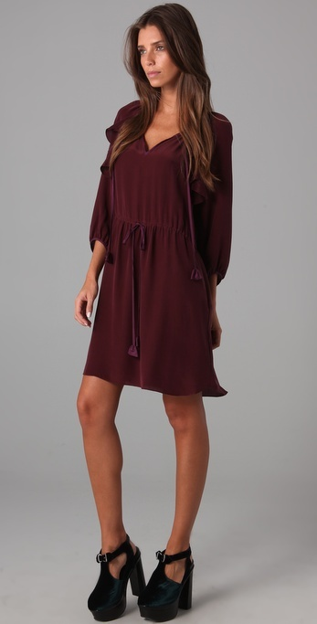 Rebecca Taylor Piped Long Sleeve Dress