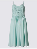 M&S Collection Floral Lace Gathered Hem Skater Midi Dress