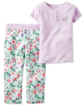Carter's Girls' or Little Girls' 2-Pc. Striped Owl Henley & Mixed-Print Pants Pajama Set