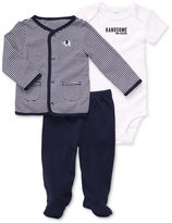 Carter's Baby Boys' 3-Piece Elephant Cardigan, Handsome Like Daddy Bodysuit & Footed Pants Set
