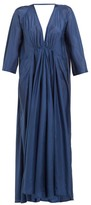 Kalita Gathered Silk-habotai Maxi Dress - Womens - Navy