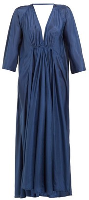 Kalita Gathered Silk-habotai Maxi Dress - Womens - Navy