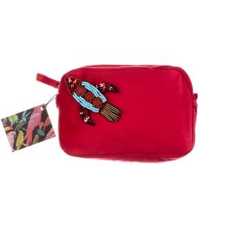 Red Velvet Bag With Beaded Rocket Brooch
