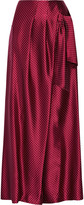 Thakoon Wrap-effect satin-jacquard wide-leg pants