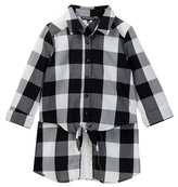 My Michelle mymichelle Buffalo Check Tie Front Hi-Lo Shirt (Big Girls)