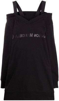 MM6 MAISON MARGIELA Cold-Shoulder Logo Sweatshirt Dress