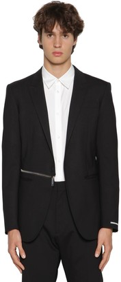 DSQUARED2 Stretch Wool Blend Blazer W/ Side Zip