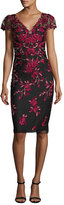 Notte by Marchesa Rose-Embroidered Cap-Sleeve Cocktail Dress, Black