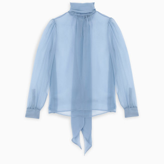 Saint Laurent Light-blue bow blouse