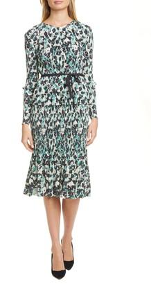 BOSS Etalisa Long Sleeve Jersey Plisse Dress