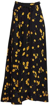 3.1 Phillip Lim Cherry Print Tie-Waist Side Slit Maxi Skirt