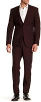 Simon Spurr Red Sharkskin Two Button Notch Lapel Wool Regular Fit Suit