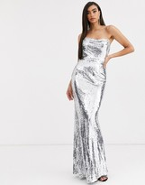 Bariano corset sequin gown in liquid silver