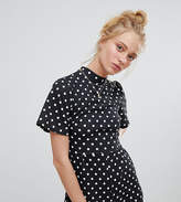 Daisy Street Romper With Frill Sleeves In Polka Dot