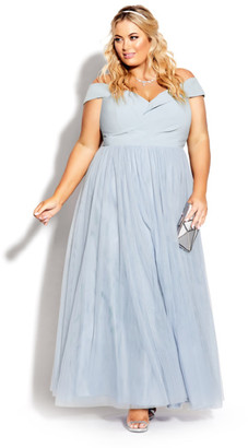 City Chic Rippled Tulle Maxi Dress - aquamarine