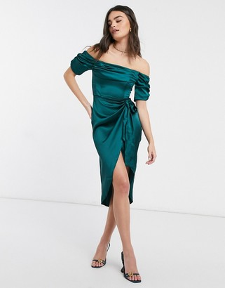 Flounce London bardot ruched midi dress with thigh split and wrap tie waist in emerald green