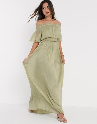 Bardot ASOS DESIGN shirred maxi dress in sage green