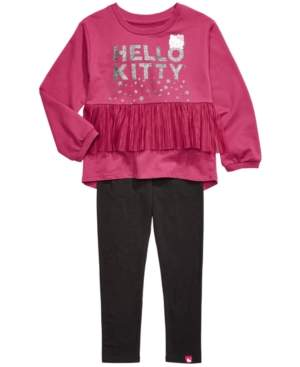Hello Kitty Little Girls 2-Pc. Pleated-Mesh Top & Leggings Set