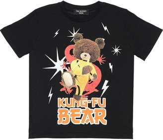 Neil Barrett Kong-fu Bear Print Cotton Jersey T-shirt