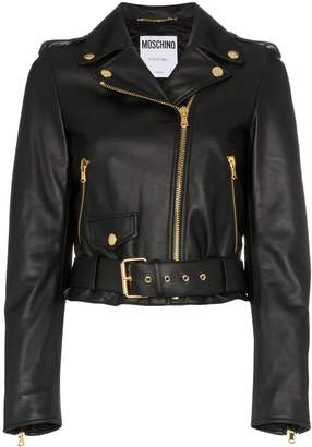Moschino logo leather biker jacket