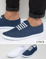 Asos Sneakers 2 Pack In White and Navy