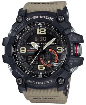 G-Shock Men's Analog-Digital Mud Master Twin Sensor Khaki Strap Watch 56x55mm GG1000-1A5