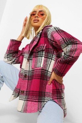 boohoo Pink Check Wool Look Oversized Shacket