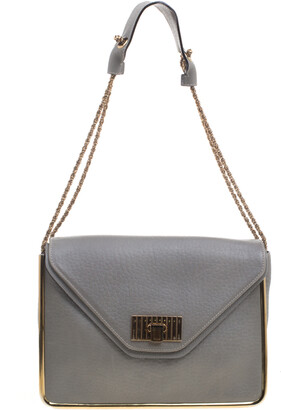 Chloé Grey Pebbled Leather Medium Sally Flap Shoulder Bag