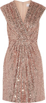 Badgley Mischka Robin gathered sequined tulle mini dress