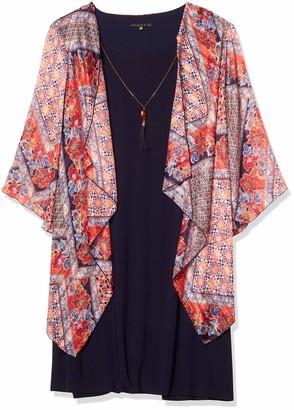 Tiana B T I A N A B. Women's Plus Size Floral Printed Chiffon Mock Jacket