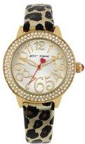 Betsey Johnson Women's BJ00251-01 Analog Metallic Leopard Printed Strap Watch