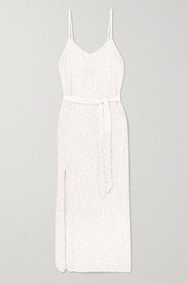 retrofete Rebecca Velvet-trimmed Sequined Chiffon Dress - White