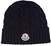 Moncler Men's Cable-Knit Virgin Wool Beanie-NAVY