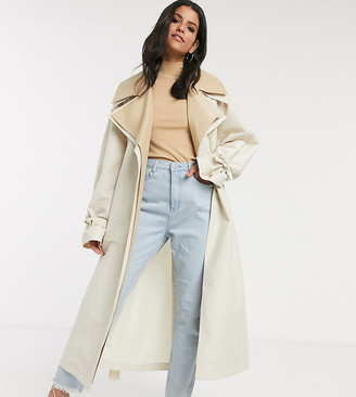 Asos DESIGN Tall double layer oversized trench coat in stone