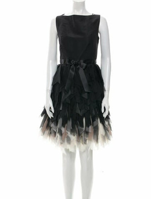 Oscar de la Renta Silk Knee-Length Dress Black