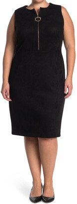 Calvin Klein Faux Suede O-Ring Zip Sheath Dress
