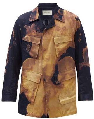 BED J.W. FORD Bleached Silk-blend Shirt Jacket - Navy