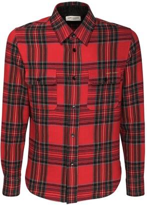 Saint Laurent Tartan Wool & Cotton Shirt