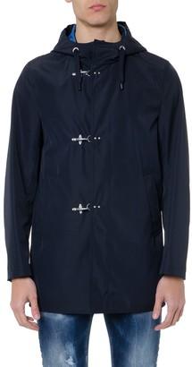 Fay Parka Raincoat In Blue Technical Fabric