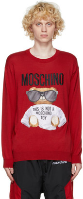 Moschino Red Cotton Micro Teddy Bear Sweater