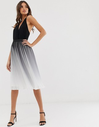 Chi Chi London pleated color block midi skirt in monochrome dip dye effect